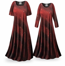 NEW! Customizable Red Glitter Halftone Slinky Print Plus Size & Supersize Short or Long Sleeve Dresses & Tanks - Sizes Lg to 9x