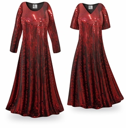 SALE! Customizable Red Moon Slinky Print Plus Size & Supersize Short or Long Sleeve Dresses & Tanks - Sizes Lg to 9x