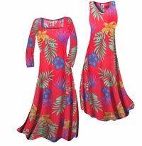 Customizable! Red With Blue Tropical Flowers Print Slinky Plus Size & Supersize Standard or Cascading A-Line or Princess Cut Dresses & Shirts, Jackets, Pants, Palazzo's or Skirts Lg to 9x