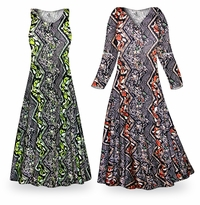 NEW! Customizable Safari Slinky Print Plus Size & Supersize Standard or Cascading A-Line or Princess Cut Dresses & Shirts, Jackets, Pants, Palazzo�s or Skirts Lg to 9x