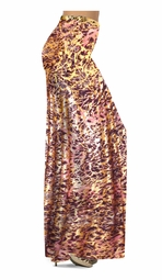 NEW! Customizable Salmon Red Ornate With Gold Metallic Slinky Print Special Order Plus Size & Supersize Pants, Capri's, Palazzos or Skirts! Lg to 9x