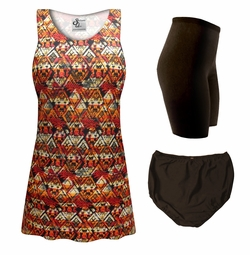 NEW! Customizable Sedona Print Mix & Match Plus Size Tankini Separates 0x 1x 2x 3x 4x 5x 6x 7x 8x 9x