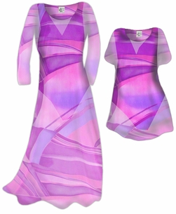 Customizable Semi-Sheer Pink Fucshia & Purple Geometric Plus Size Coverup Dress & Top / Swimsuit Coverups Overdress Plus Size & Supersize 0x 1x 2x 3x 4x 5x 6x 7x 8x