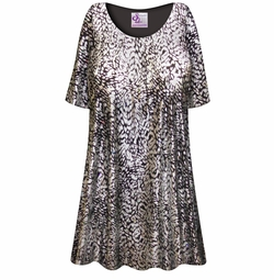 NEW! Customizable Silver & Black Sparkly Sequins Slinky Print Plus Size & Supersize Short or Long Sleeve A-Line Shirts - Tunics - Tank Tops - Sizes Lg XL 1x 2x 3x 4x 5x 6x 7x 8x 9x