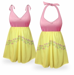 SOLD OUT! Customizable Strawberry Lemonade Halter or Shoulder Strap 2pc Plus Size Swimsuit/SwimDress 0x to 6x