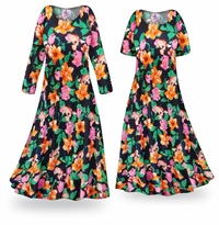 NEW! Customizable Sweet Lilies Slinky Print Plus Size & Supersize Standard or Cascading A-Line or Princess Cut Dresses & Shirts, Jackets, Pants, Palazzo�s or Skirts Lg to 9x