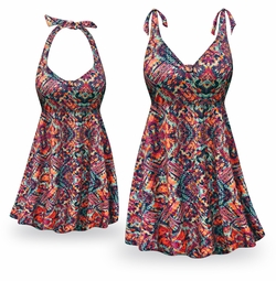 NEW! Customizable Tribal Print Halter or Shoulder Strap 2pc Plus Size Swimsuit/SwimDress 0x to 9x