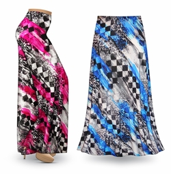 SALE! Customizable Wild Checkers Slinky Print Special Order Plus Size & Supersize Pants, Capri's, Palazzos or Skirts! Lg to 9x