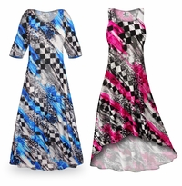 Customizable Wild Checkers Slinky Print Plus Size & Supersize Standard or Cascading A-Line or Princess Cut Dresses & Shirts, Jackets, Pants, Palazzo�s or Skirts Lg to 9x