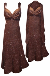 NEW! Customizable 2 Piece Glittery Brown With Copper Vertical Lines Glitter Slinky Print 2 Piece Plus Size SuperSize Princess Seam Dress Set 0x 1x 2x 3x 4x 5x 6x 7x 8x 9x