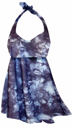 SALE! 2-Piece Slate Gray & Blue Tye Dye Print Plus Size Halter SwimDress Swimwear or Shoulder Strap 2pc Swimsuit 0x