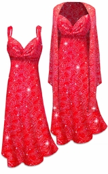 NEW! Customizable 2 Piece Sparkly Silver and Red Glitter Dots & Lines Slinky Print 2 Piece Plus Size SuperSize Princess Seam Dress Set 0x 1x 2x 3x 4x 5x 6x 7x 8x 9x