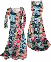 Customize Blue Alice's Garden Slinky Print Plus Size & Supersize Standard or Cascading A-Line or Princess Cut Dresses & Shirts, Jackets, Pants, Palazzo's or Skirts Lg to 9x