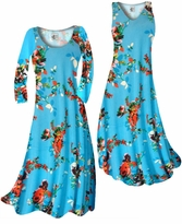 Customizable Azure Blue With Crimson Red Rose Buds Slinky Print Plus Size & Supersize Standard or Cascading A-Line or Princess Cut Dresses & Shirts, Jackets, Pants, Palazzo's or Skirts Lg to 9x