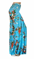 Customizable Azure Blue With Crimson Red Rose Buds Slinky Print Special Order Plus Size & Supersize Pants, Capri's, Palazzos or Skirts! Lg to 9x