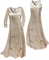 NEW! Customize Beige & Gold Metallic Shiny Slinky Print Plus Size & Supersize Standard or Cascading A-Line or Princess Cut Dresses & Shirts, Jackets, Pants, Palazzo's or Skirts Lg to 9x
