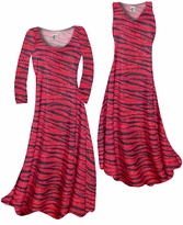 Customize Red With Black Zebra Stripes With Dots Slinky Print Plus Size & Supersize Standard or Cascading A-Line or Princess Cut Dresses & Shirts, Jackets, Pants, Palazzo's or Skirts Lg to 9x