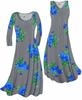 NEW! Customize Black & White Checkerboard With Blue Roses Slinky Print Plus Size & Supersize Standard or Cascading A-Line or Princess Cut Dresses & Shirts, Jackets, Pants, Palazzo's or Skirts Lg to 9x