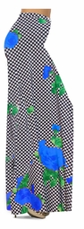 NEW! Customize Black & White Checkerboard With Blue Roses Slinky Print Special Order Plus Size & Supersize Pants, Capri's, Palazzos or Skirts! Lg to 9x