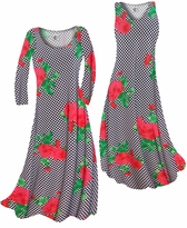 SALE! Black & White Checkerboard With Red Roses Slinky Print Plus Size & Supersize Standard or Cascading A-Line or Princess Cut Dresses & Shirts 5X