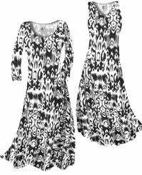 CLEARANCE! Black & White Ink Blots Slinky Print Plus Size & Supersize Standard or Cascading A-Line or Princess Cut Dresses 3X