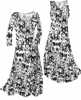NEW! Customize Black & White Ink Blots Slinky Print Plus Size & Supersize Standard or Cascading A-Line or Princess Cut Dresses & Shirts, Jackets, Pants, Palazzo's or Skirts Lg to 9x