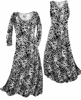 Customize Black & White Stencil Floral Slinky Print Plus Size & Supersize Standard or Cascading A-Line or Princess Cut Dresses & Shirts, Jackets, Pants, Palazzo's or Skirts Lg to 9x