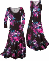 Customizable Black With Fuchsia Rose Buds Slinky Print Plus Size & Supersize Standard or Cascading A-Line or Princess Cut Dresses & Shirts, Jackets, Pants, Palazzo's or Skirts Lg to 9x