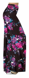 NEW! Customize Black With Fuschia Rose Buds Slinky Print Special Order Plus Size & Supersize Pants, Capri's, Palazzos or Skirts! Lg to 9x