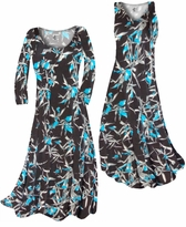 NEW! Customize Black With Oriental Lily Slinky Print Plus Size & Supersize Standard or Cascading A-Line or Princess Cut Dresses & Shirts, Jackets, Pants, Palazzo's or Skirts Lg to 9x