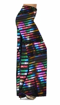 NEW! Customize Black with Rainbow Rows Metallic Shiny Slinky Print Special Order Plus Size & Supersize Pants, Capri's, Palazzos or Skirts! Lg to 9x