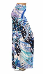 Customizable! Blue Aqua Tropical Brushstrokes Slinky Print Special Order Plus Size & Supersize Pants, Capri's, Palazzos or Skirts! Lg to 9x