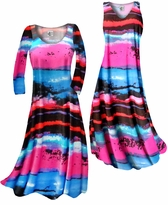 NEW! Customize Blue, Black and Hot Pink Paint Brushstrokes Slinky Print Plus Size & Supersize Standard or Cascading A-Line or Princess Cut Dresses & Shirts, Jackets, Pants, Palazzo's or Skirts Lg to 9x