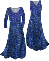 NEW! Customize Blue Leopard Glittery Slinky Print Plus Size & Supersize Standard or Cascading A-Line or Princess Cut Dresses & Shirts, Jackets, Pants, Palazzo's or Skirts Lg to 9x