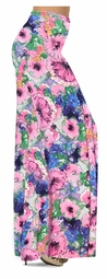 NEW! Customize Blue & Pink Wildflowers Slinky Print Special Order Plus Size & Supersize Pants, Capri's, Palazzos or Skirts! Lg to 9x