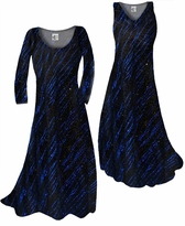 Customize Blue Streaks Glimmer Slinky Print Plus Size & Supersize Standard or Cascading A-Line or Princess Cut Dresses & Shirts, Jackets, Pants, Palazzo's or Skirts Lg to 9x