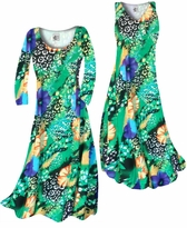 Customizable Blue & Yellow Floral Speckled Paradise Slinky Print Plus Size & Supersize Standard or Cascading A-Line or Princess Cut Dresses & Shirts, Jackets, Pants, Palazzo's or Skirts Lg to 9x