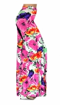 NEW! Customize Bright Pink & Orange Bellflowers Floral Slinky Print Special Order Plus Size & Supersize Pants, Capri's, Palazzos or Skirts! Lg to 9x