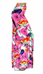 Customizable Bright Pink & Orange Bellflowers Floral Slinky Print Special Order Plus Size & Supersize Pants, Capri's, Palazzos or Skirts! Lg to 9x