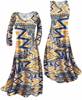 NEW! Customize Bright Yellow and Blue Triangles Slinky Print  Plus Size & Supersize Standard or Cascading A-Line or Princess Cut Dresses & Shirts, Jackets, Pants, Palazzo's or Skirts Lg to 9x