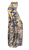 NEW! Customize Bright Yellow and Blue Triangles Slinky Print Special Order Customizable Plus Size & Supersize Pants, Capri's, Palazzos or Skirts! Lg to 9X