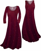 Customize Burgundy With Glittery Gold Dots Slinky Print Plus Size & Supersize Standard or Cascading A-Line or Princess Cut Dresses & Shirts, Jackets, Pants, Palazzo's or Skirts Lg to 9x