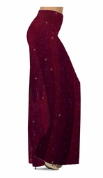 Customize Burgundy With Glittery Gold Dots Slinky Print Special Order Plus Size & Supersize Pants, Capri's, Palazzos or Skirts! Lg to 9x