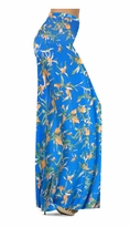 Customizable Cerulean Blue With Oriental Lily Slinky Print Special Order Plus Size & Supersize Pants, Capri's, Palazzos or Skirts! Lg to 9x