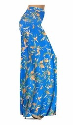SOLD OUT! Customizable Cerulean Blue With Oriental Lily Slinky Print Special Order Plus Size & Supersize Pants, Capri's, Palazzos or Skirts! Lg to 9x