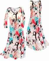 NEW! Customize Coral & Turquoise Blotches Slinky Print Plus Size & Supersize Standard or Cascading A-Line or Princess Cut Dresses & Shirts, Jackets, Pants, Palazzo's or Skirts Lg to 9x