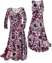 NEW! Customize Dark Purple Wine and Sand Tie Dye Slinky Print Plus Size & Supersize Standard or Cascading A-Line or Princess Cut Dresses & Shirts, Jackets, Pants, Palazzo's or Skirts Lg to 9x