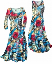 NEW! Customize Dark Red & Ivory Floral Speckled Paradise Slinky Print Plus Size & Supersize Standard or Cascading A-Line or Princess Cut Dresses & Shirts, Jackets, Pants, Palazzo's or Skirts Lg to 9x