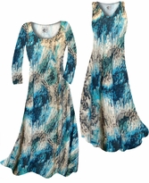 NEW! Customize Dark Teal Lagoon Lines Slinky Print Plus Size & Supersize Standard or Cascading A-Line or Princess Cut Dresses & Shirts, Jackets, Pants, Palazzo's or Skirts Lg to 9x