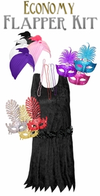 NEW! Customize Black Economy Style Flapper Dress Kit With Choice of Mask or Turban Plus Size Supersize Halloween Costume Kit Large to 9x